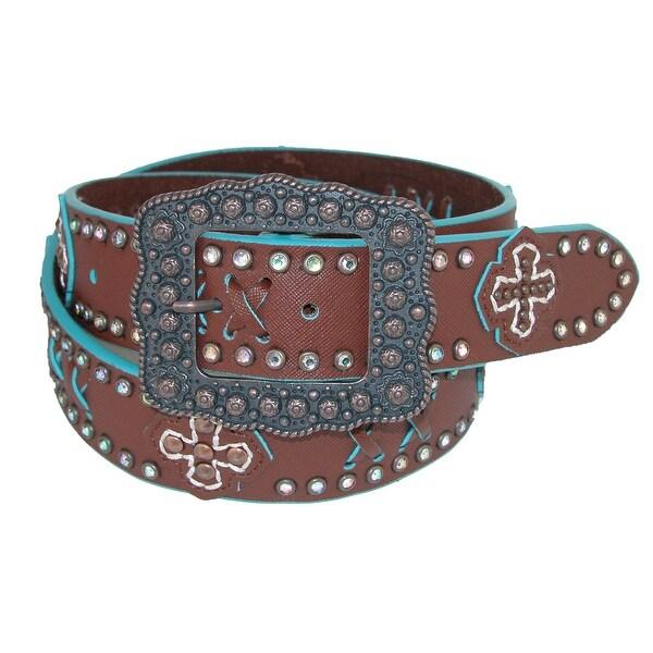 CTM® Women's Center Bar Buckle Belt with Contrast Detail