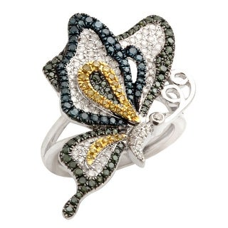 Fabulous 1.01 TCW Real Round Brillaint Cut Multi Color Diamond With Diamond Butterfly Ring