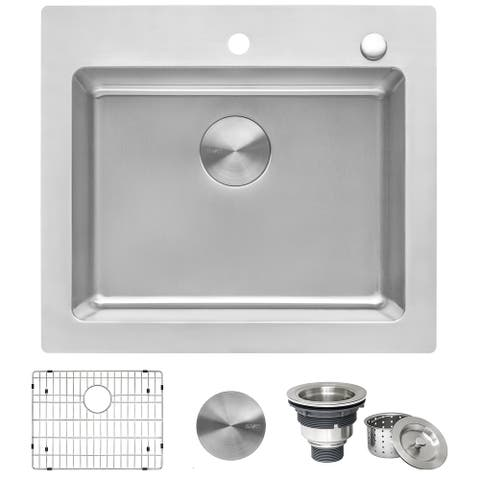 Ruvati 25 x 22 inch Drop-in Topmount Kitchen Sink 16 Gauge Stainless Steel Single Bowl - RVM5025 - 8' x 11'