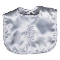 Raindrops Girls Baby Satin Christening Embroidered Girl Bib - One size