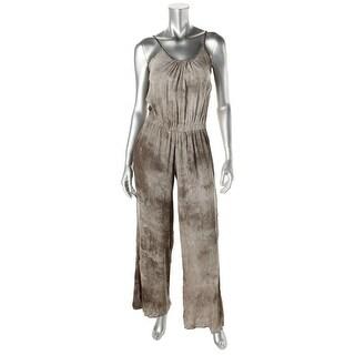 Elan Womens Tie-Dye Spaghetti Straps Jumpsuit - L