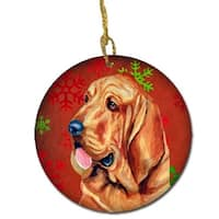 Bloodhound Red Snowflake Holiday Christmas Ceramic Ornament