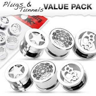 6 Pcs Value Pack of Stainless Tunnels with Star, Web, and Knuckle Designs