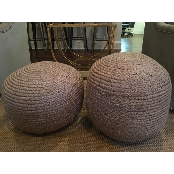 nuLOOM Bristol Braided Solid Jute Ottoman Pouf Green