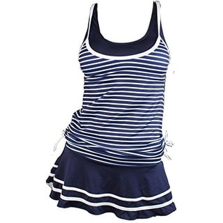 MiYang Womens Striped Skirted Tankini Swimsuit - M