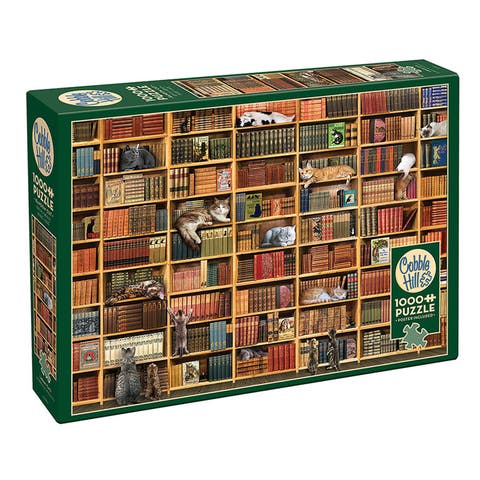 Outset Media Books and Cats 1000 Piece Jigsaw Puzzle - Multicolor
