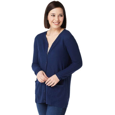 Joan Rivers Womens Cardigan with Grosgrain Ribbon Detail Plus 2X Navy A347327