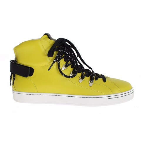 Dolce & Gabbana Yellow Leather High Top Sneakers Shoes - 39