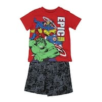 """Marvel Little Boys Red Black """"Epic Team"""" Avengers 2 Pc Shorts Outfit"""