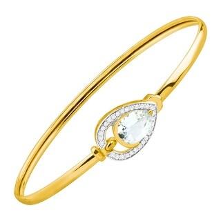 1 1/3 ct Natural Aquamarine & 1/8 ct Diamond Bangle Bracelet in 10K Gold - Blue