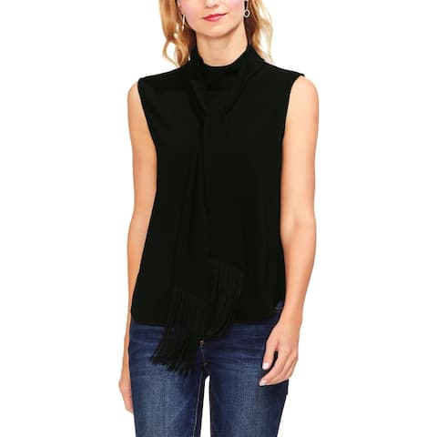 Vince Camuto Womens Shell Fringe Tie Mock Neck