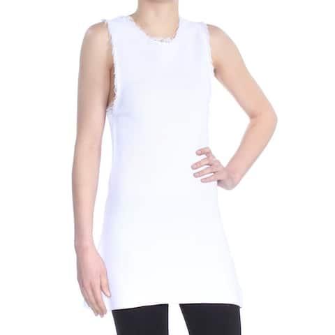 RACHEL ROY Womens White Fringed Sleeveless Cocktail Sweater Size: XS
