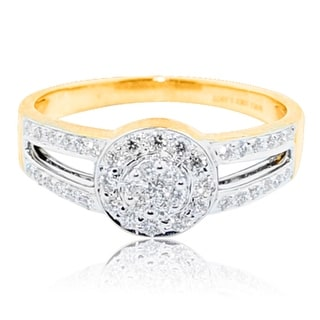 10K Yellow Gold Halo Split Shoulder Bridal Engagement Ring 8mm Wide(h/i Color 0.33cttw) By MidwestJewellery - White