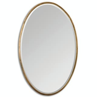 "28"" Arletta Oval Beveled Wall Mirror with Narrow Plated Gold Antique Finish Frame"