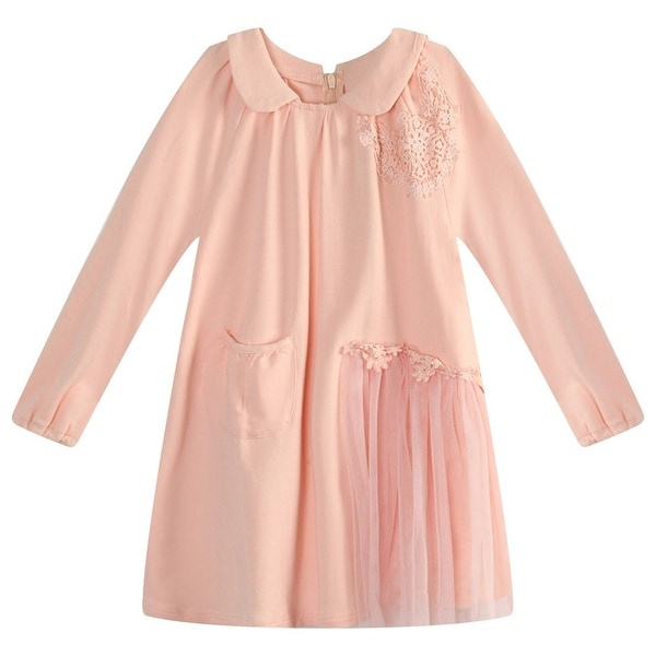 0ca94397dc Shop Richie House Little Girls Pink Lace Mesh Fabric Long Top 3-7 - Free  Shipping On Orders Over  45 - Overstock.com - 18607270