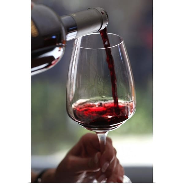 """""""Pouring a sampling of red wine at a wine tasting"""" Poster Print"""