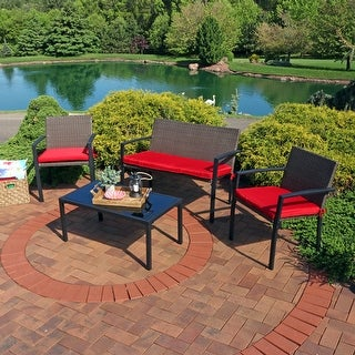 Sunnydaze Kula 4 Piece Wicker Rattan Patio Furniture Lounger Set & Red Cushions