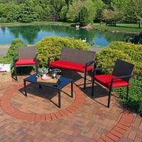 Sunnydaze Kula 4-Piece Wicker Rattan Patio Furniture Lounger Set & Red Cushions