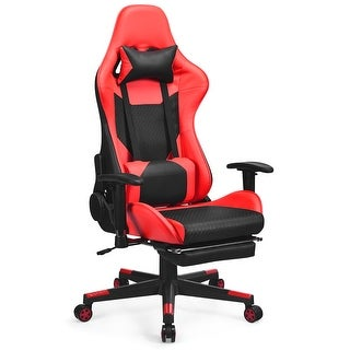 Costway Massage Gaming Chair Recliner Racing Chair w/ Massage Lumbar Support & Footrest (Red)