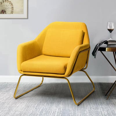 Aubrey Upholstered Accent Arm Chair with Gold Metal Base