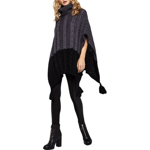 BCBGeneration Womens Poncho Sweater Knit Colorblock - O/S