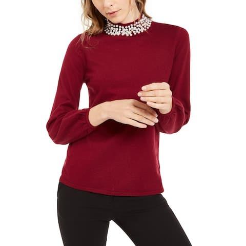 Alfani Women's Pearl-Neck Blouson Sweater Wine Size Large