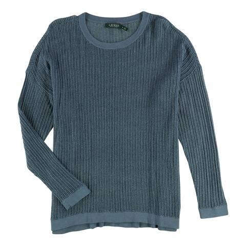 Ralph Lauren Womens Textured Knit Sweater, Blue, Small