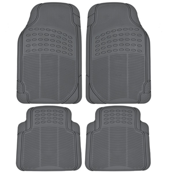 KM World 4 Piece Odorless Premium Heavy Duty All Weather Maximum Protection Rubber Car Floor Mat Gray Grey