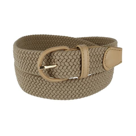 CTM® Men's Elastic Braided Belt with Covered Buckle (Big & Tall Available)