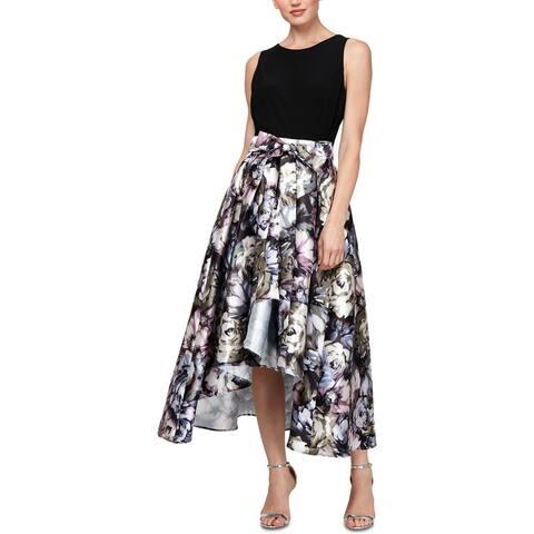 SLNY Womens Midi Dress Knit Floral - Purple Multi
