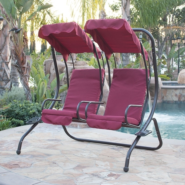 Belleze 2 Person Outdoor Patio Swing Set Armrest Cup Holder Steel Seat  Padded W/