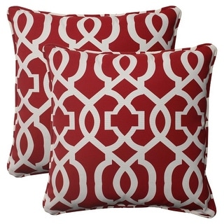 Set of 2 Moroccan Mosaic Red Outdoor Furniture Square Throw Pillows 18.5""