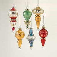 """Set of 6 Vibrantly Colored Decorative Christmas Glass Drop Ornaments 4.5"""" - RED"""