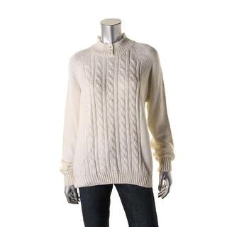 Karen Scott Womens Cable Knit Raglan Sleeves Mock Sweater
