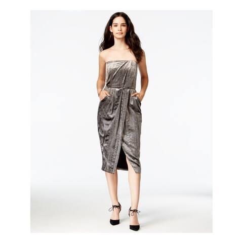 RACHEL ROY Womens Silver Slitted Sleeveless Strapless Sheath Formal Dress Size: 6