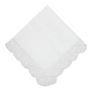 CTM® Women's Cotton Hand Made Madonna Lace Handkerchief - White - One Size
