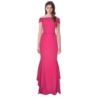 Teri Jon Off Shoulder Belted Ruffle Evening Gown Dress