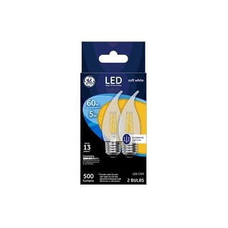 GE 23270 LED CAM Light Bulb, Soft White, Clear, 60 Watts, 500 Lumens, Pack Of 2