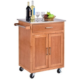 Costway Wood Kitchen Trolley Cart Stainless Steel Top Rolling Storage Cabinet Island