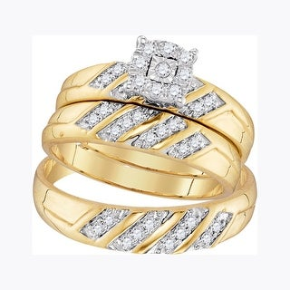 10kt Yellow Gold His Hers Round Natural Diamond Cluster Matching Bridal Wedding Ring Band Set 1/3 Cttw - White