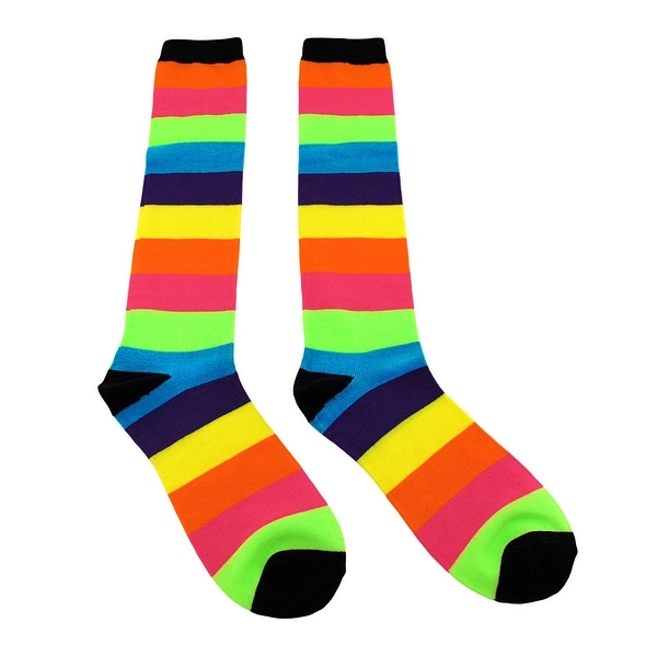 Neon Rainbow Stripes Knee High Socks
