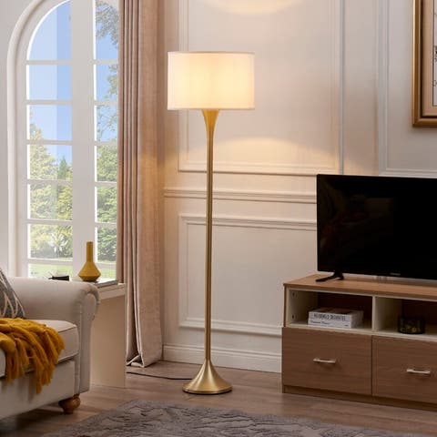 Archiology CLAIR Brass Floor Lamps With Shade - White/Brass