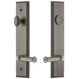 """Grandeur CARGEO_TP_ESET_234_LH  Carre Solid Brass Tall Plate Single Cylinder Keyed Entry Set with Georgetown Lever and 2-3/4"""""""