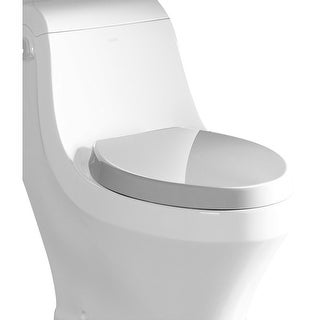 Eago R-133SEAT Elongated Closed-Front Toilet Seat with Soft Close Hinges - White