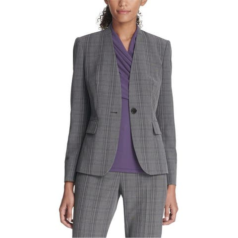 Dkny Womens Collarless One Button Blazer Jacket