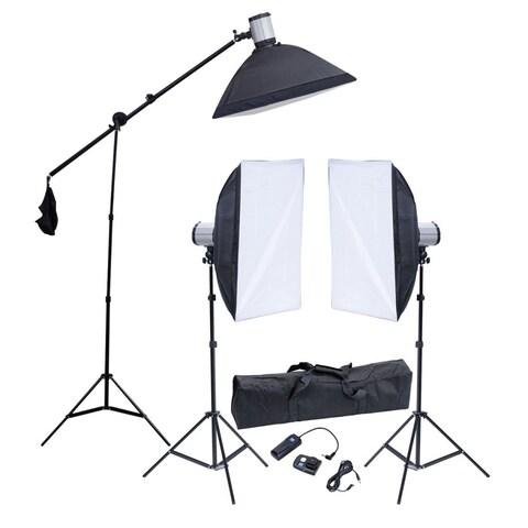 vidaXL Studio Set: 3 Flash Lights, Softboxes, Tripods & 1 Trigger