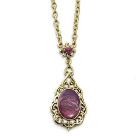 Brass Purple Crystal & Enamel Necklace - 16in