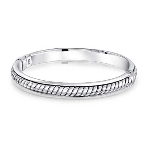 Twisted Cable Rope Hinge Bangle Bracelet 925 Sterling Silver 7.5 Inch