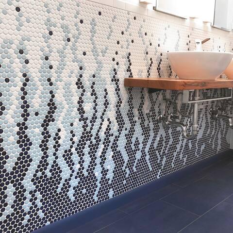 "SomerTile Metro Penny Matte White 9.75"" x 11.5"" Porcelain Mosaic Floor and Wall Tile"