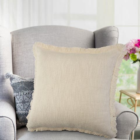 LR Home Solid Cotton Fringe Throw Pillow